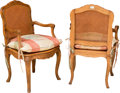Furniture , A Pair of Louis XV-Style Caned and Upholstered Fruitwood Fauteuils. 38 h x 23 w x 18 w inches (96.5 x 58.4 x 45.7 cm). ... (Total: 2 Items)