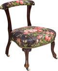 Furniture , A Continental Upholstered Oak Dressing Chair, 19th century . 25-1/2 h x 20 w x 18 d inches (64.8 x 50.8 x 45.7 cm). ...