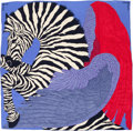 "Luxury Accessories:Accessories, Hermes 140cm Blue & Pink ""Zebra Pegasus"", by Alice Shirley Silkand Cashmere Scarf. Pristine Condition. 55"" Width x 55""Le..."