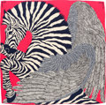 "Luxury Accessories:Accessories, Hermes 140cm Pink & Blue ""Zebra Pegasus,"" by Alice Shirley Silkand Cashmere Scarf. Pristine Condition. 55"" Width x 55""Le..."