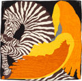 "Luxury Accessories:Accessories, Hermes 140cm Orange & Yellow ""Zebra Pegasus,"" by Alice Shirley Silk and Cashmere Scarf. Pristine Condition. 55"" Width x 55..."