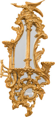 A Pair of Chinese Chippendale-Style Giltwood and Mirrored Bracket Shelves, late 20th century 24 h x 11 w x 3 d inc