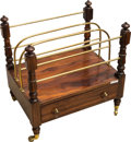 Furniture, An English Brass, Rosewood and Mahogany Canterbury, late 19th century. 21 h x 20 w x 13-1/2 d inches (53.3 x 50.8 x 34.3 cm)...