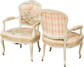 Furniture , Six Louis XV-Style Upholstered Gris Peinte Fauteuils, Early 20th century. 37 h x 27 w x 22 d inches (94.0 x 68.6 x 55.9 cm)... (Total: 6 Items)