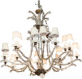 Paintings, A Gilt and Silvered Metal and Glass Eighteen-Light Chandelier, 20th century. 36-1/2 inches high (92.7 cm). ...