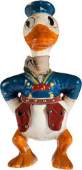 """Antiques:Toys, Figural Composition Knickerbocker Donald Duck, 8.5"""" Tall...."""
