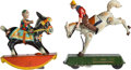 Antiques:Toys, Lithographed Tin Windup Toys (Two): Lehmann Bucking Bronco and Donkey Toy,... (Total: 2 Items)