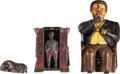 Antiques:Toys, Cast Iron Mechanical Banks (Two): Tammany and a Cabin.... (Total: 3 Items)
