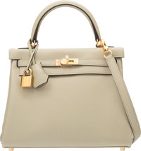 Hermes 25cm Sage Swift Leather Retourne Kelly Bag with Gold Hardware X, 2016 Pristine Condition
