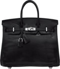 "Luxury Accessories:Bags, Hermes 25cm Black Nilo Lizard Birkin Bag with Palladium Hardware.K Square, 2007. Excellent Condition. 9.5"" Width..."