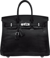 Hermes 25cm Black Nilo Lizard Birkin Bag with Palladium Hardware K Square, 2007 Excellent Conditi
