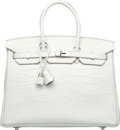 "Luxury Accessories:Bags, Hermes 35cm Matte Nuage Alligator Birkin Bag with Palladium Hardware. R Square, 2014. Pristine Condition. 14"" Widt..."