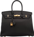"Luxury Accessories:Bags, Hermes 35cm Black Togo Leather Birkin Bag with Gold Hardware. T, 2015. Pristine Condition. 14"" Width x 10"" Height ..."
