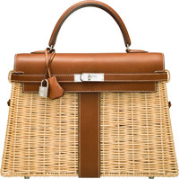 Hermes Limited Edition 35cm Barenia Leather & Osier Wicker Picnic Kelly Bag with Palladium Hardware O Square, 2
