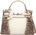 Luxury Accessories:Bags, Hermes 32cm Matte White Himalayan Nilo Crocodile Retourne Kelly Bagwith Palladium Hardware. R Square, 2014. Pristine ...