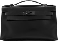 Hermes Limited Edition So Black Calf Box Leather Kelly Pochette Bag with PVD Hardware N Square, 2010