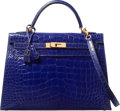 Luxury Accessories:Bags, Hermes 32cm Shiny Blue Saphir Alligator Sellier Kelly Bag with GoldHardware. E Square, 2001. Very Good to Excellent C...