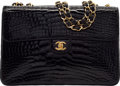 """Luxury Accessories:Bags, Chanel Shiny Black Alligator Jumbo Flap Bag. Very Good to Excellent Condition. 12"""" Width x 8"""" Height x 3"""" Depth. ..."""