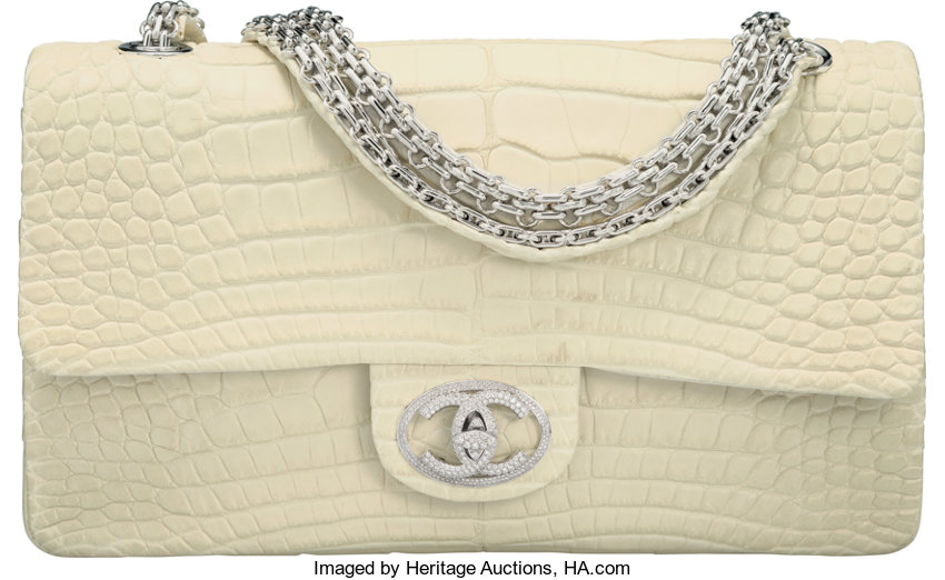 972255d883e8 ... Luxury Accessories:Bags, Chanel Limited Edition Matte White Alligator Diamond  Forever FlapBag with 18K ...