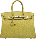 Luxury Accessories:Bags, Hermes 35cm Vert Anis Ostrich Birkin Bag with Palladium Hardware .M Square, 2010 . Very Good to Excellent Condition ...