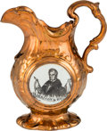 Political:3D & Other Display (pre-1896), William Henry Harrison: Outstanding Large-size Copper Luster Pitcher....