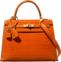 Luxury Accessories:Bags, Hermes 25cm Shiny Orange H Porosus Crocodile Sellier Kelly Bag withGold Hardware. A Square, 1997. Excellent Condition. 10...