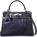 Luxury Accessories:Bags, Hermes 28cm Matte Blue Abysse Nilo Crocodile Retourne Kelly Bagwith Palladium Hardware. E Square, 2001. Very Good to...