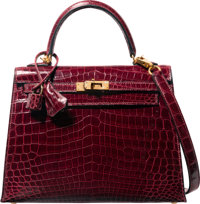 Hermes 25cm Shiny Bordeaux Nilo Crocodile Sellier Kelly Bag with Gold Hardware F Square, 2002 Exc