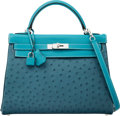 Luxury Accessories:Bags, Hermes Limited Edition 32cm Cobalt Ostrich, Blue Jean Swift &Blue Thalassa Clemence Leather Retourne Kelly Bag with Palladium...