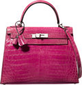 Luxury Accessories:Bags, Hermes 28cm Shiny Fuchsia Nilo Crocodile Sellier Kelly Bag withPalladium Hardware. J Square, 2006. ExcellentConditio...