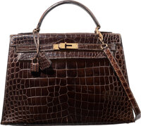 Hermes 32cm Shiny Marron Fonce Caiman Crocodile Sellier Kelly Bag with Gold Hardware L Circle, 1982