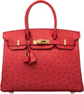 "Luxury Accessories:Bags, Hermes 30cm Rouge Vif Ostrich Birkin Bag with Gold Hardware. T,2015. Pristine Condition. 12"" Width x 8"" Height x..."