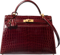 Hermes 32cm Shiny Bourgogne Nilo Crocodile Sellier Kelly Bag with Gold Hardware X, 2016 Pristine