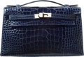 Luxury Accessories:Bags, Hermes Shiny Blue Abysse Alligator Kelly Pochette Bag withPalladium Hardware. P Square, 2012. Excellent to PristineCondi...