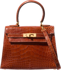 Hermes 20cm Shiny Etrusque Alligator Sellier Kelly Bag with Gold Hardware V Circle, 1992 Very Goo