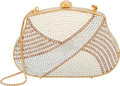 """Luxury Accessories:Bags, Judith Leiber Full Bead White & Gold Crystal Striped MinaudiereEvening Bag. Excellent Condition. 5"""" Width x 3""""Height..."""