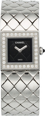 """Chanel Diamond & Stainless Steel Matalesse Watch Very Good Condition 0.75"""" Width x 6"""" Length<..."""