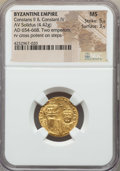 Ancients:Byzantine, Ancients: Constans II & Constantine IV (AD 654-668). AV solidus(4.42 gm). NGC MS 5/5 - 3/5....