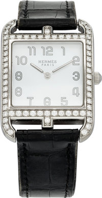 Hermes Diamond & Stainless Steel Cape Cod GM Watch with Matte Black Alligator Band Very Good to Excellent Condi...