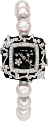 "Chanel 18K White Gold, Diamond & Cultured Pearl Lady's Watch Pristine Condition 1"" Width x 7"" Len"