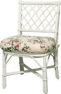 Furniture , A White Wicker Garden Chair with Upholstered Seat Cushion, 20th century. 34 h x 20 w x 20-1/2 d inches (86.4 x 50.8 x 52.1 c...