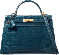 Hermes 32cm Shiny Colvert Porosus Crocodile Sellier Kelly Bag with Gold Hardware X, 2016 Pristine