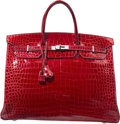 Luxury Accessories:Bags, Hermes 40cm Shiny Braise Porosus Crocodile Birkin Bag withPalladium Hardware. K Square, 2007. ExcellentCondition. ...