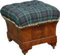 Furniture , A Regency Mahogany Upholstered Footstool, 19th century and later . 16-1/2 h x 19 w x 17-1/2 d inches (41.9 x 48.3 x 44.5 cm)...
