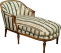 Furniture, A Louis XVI-Style Upholstered Walnut Chaise Lounge, late 19th/ early 20th century. 30-1/2 h x 52 w x 25-1/2 d inches (77.5 x...