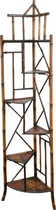 Furniture , A Chinoiserie Painted Wood and Bamboo Corner Shelf, 20th century. 66 h x 17 w x 12 d inches (167.6 x 43.2 x 30.5 cm). ...