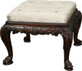 Furniture , A Gostin of Liverpool George III-Style Carved Mahogany and Upholstered Bench, mid-20th century. 19-1/2 inches high x 25-1/4 ...