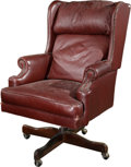 Furniture : American, A Leather Upholstered Desk Chair, late 20th century. 48-1/4 h x 28w x 29-1/2 d inches (122.6 x 71.1 x 74.9 cm). ...