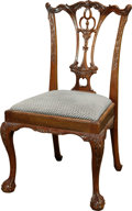 Furniture , A George III-Style Mahogany Side Chair with Upholstered Seat, 20th century. 37-1/2 h x 22-3/4 w x 19 d inches (95.3 x 57.8 x...