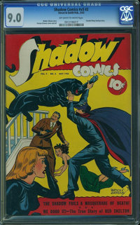 Shadow Comics V3#2 (Street & Smith, 1943) CGC VF/NM 9.0 Off-white to white pages